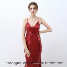 Vermelho Lantejoulas Sereia Vestidos De Noite Longo
