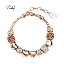 Premium Austria Crystal Gold Plated Love Heart Radiant Charms Adjustable Bracelet for Women