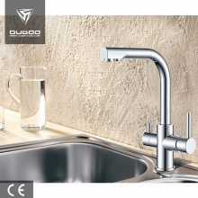 Single hole double handle kitchen faucet with filter