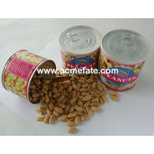 roasted and salted peanuts in tin and vacuum bag