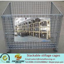 Fabricant cages de transport d'atelier mobile recycler le stockage de fil de métal cages volume 0,15-1,56m3 cages empilables de stillage