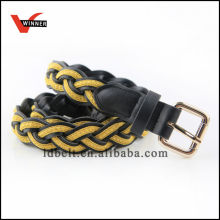 Yellow and Black Braided Leather Belts