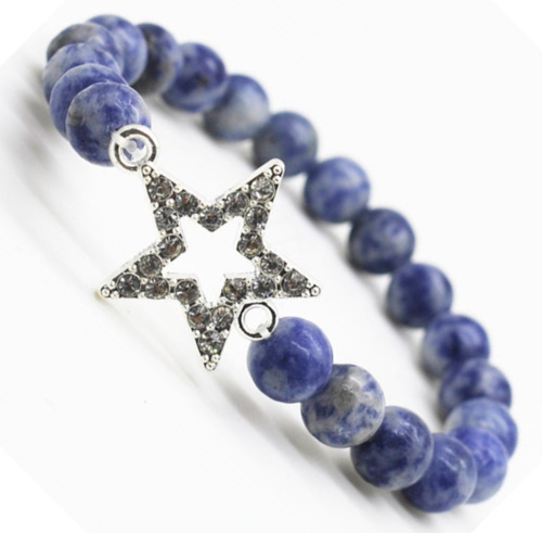 Sodalite Gemstone Bracelet with Diamante alloy star Piece
