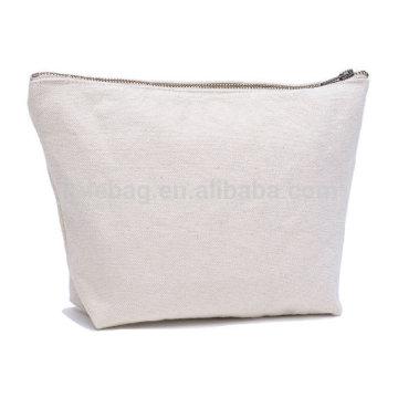 Großhandelsmetallreißverschlusstasche Mode Plain blank canvas Kosmetiktasche