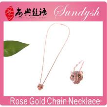 Joyas de oro rosa Bling CZ Stone Leopard Head Joyas de plata Collar de moda de leopardo