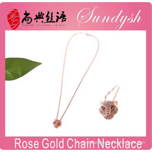 Rose Gold Jewelry Bling CZ Stone Leopard Head Silver Jewelry Leopard Fashion Necklace