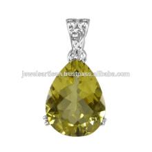 Belle bijoux pendentifs en argent sterling 925 en pierres précieuses au quartz citron