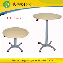 European Convenient Gas Spring Height Adjustable Extendable Round Table with One Leg for Dinner