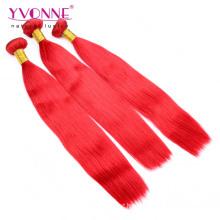 Extensão de cabelo Remy peruano de cor de qualidade superior vermelho