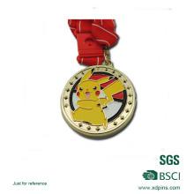 Médaille mignonne de logo de Pikachu d'émail mou plaqué par or de fer