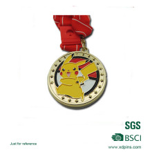 Iron Gold Plated Soft Enamel Cute Pikachu Logo Medal