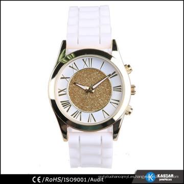 Brillo señora reloj mujer reloj de silicona banda