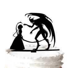 Bolo de casamento Topper - Halloween Diabo Silhueta Bolo de casamento Topper