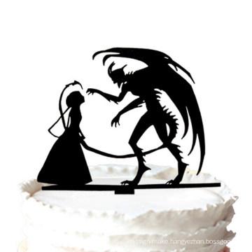 Wedding Cake Topper - Halloween Devil Silhouette Wedding Cake Topper