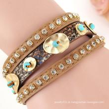 Hot Venda Moda Vintage Estilo pulseira de couro de ouro com fecho magnético