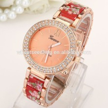 geneva crystal diamond around model lady stainless steel watch