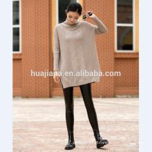 Camisola de tamanho grande de cashmere feminina