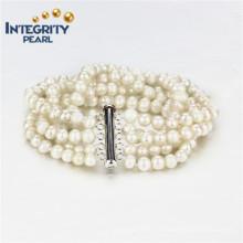 Pulsera de perlas de agua dulce 5mm a + patata 5 filamentos de perlas de moda pulsera de joyería