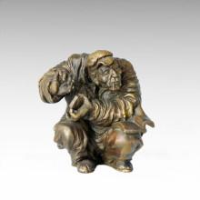 Eastern Statue Traditional Smoking Elder Bronze Sculpture Tple-001