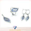 Ensemble de bijoux en forme de motif Leaf Design pour femme Ensemble de bijoux en argent sterling avec une femme 3A CZ 925 (S3302)