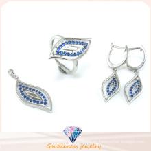 Hoja patrón de diseño joyería de moda conjunto para la mujer 3a cz 925 joyas de plata esterlina conjunto (s3302)