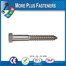 Made in Taiwan Lag Screw Hexagon Head Stainless Steel Passivated Carbon Steel Zinc Plated Black Oxide