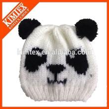 Venta al por mayor lindo barato hecho punto panda beanie