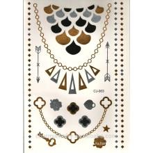 OEM женщин браслет листьев временных татуировки пол продукта металлических серебро золота татуировки J003