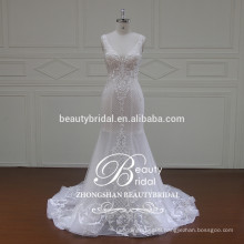 new design mermaid shaped embellishments bridal gown,v-neck & heart back wedding dress ZSS001