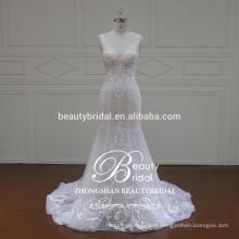 Novo design de sereia embutidos em forma de vestido de noiva, v-pescoço e coração vestido de casamento de volta ZSS001