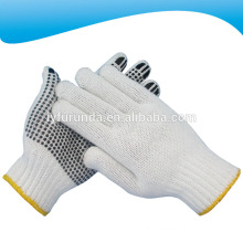 One side dotted bleached white cotton knitted working gloves