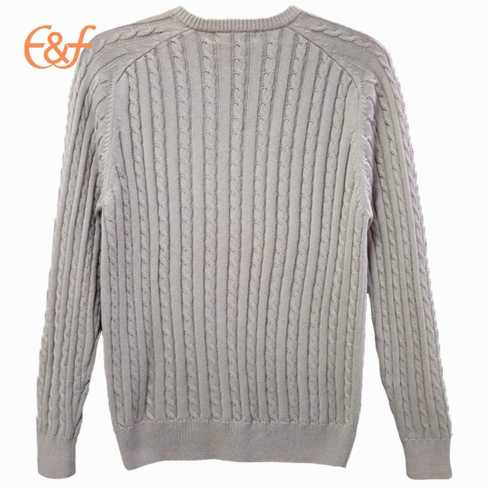 V-neck Cable Knitted 100%Cotton Men Sweater