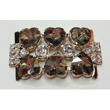 Rhinestone Alloy Lady Пряжка для обуви с Heart-Shaped Crystal Glass в кофе