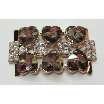 Rhinestone Alloy Lady Shoe Buckle with Heart-Shaped Crystal Glass in Coffee