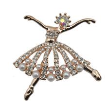 Mode kleine Ballett Tänzerin versilbert CZ Strass Perle Brosche
