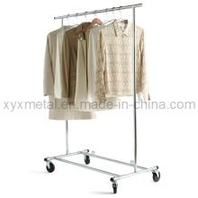 Folding Chromed Rolling Single Rail Vestuário Vestido Roupas de roupas Rack