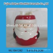 Handpainting lovely ceramic Christmas santa toothpick holder