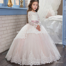 Vestido de boda del vestido de la muchacha del bebé de la decoración del cordón doble del nuevo vestido Vestido de la muchacha del cordón de la manga larga del diseño del invierno de la manga larga vestido nuevo de la muchacha de 4 años