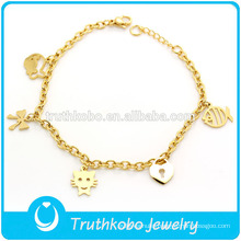 TKB-JB0020 Adorable hollow gold with lovely cat,fish ,bow and handbag shape 316L stainless steel bracelets & bangles