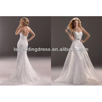 WD2362 Surmount profissional sem mangas destacou a saia cap vestido de casamento impecável