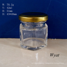 50ml 1.5oz Glass Honey Jar with Screw Golden Lid Hexagonal Glass Jam Jar