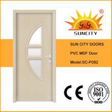 Высококачественные межкомнатные стеклянные двери ПВХ (СК-P082)