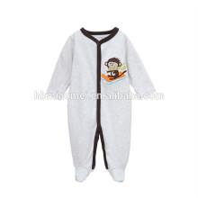 Coton biologique bébé romer vêtements gris couleur hiver à manches longues brodé cartoon bébé barboteuse costume