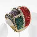 Wholesale Fashion Colorful Rhinestone Woman's finger Ring made of zinc alloy wholesale band rings