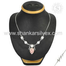 Amazing 925 Silver Jewelry Rhodochrosite & Pearl Necklace Indian Silver Jewelry Manufacturing