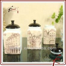 Lata de café cerámica hermética con tapa negra