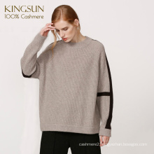 Oversize Pure Cashmere Women Sweater Casual Round Neck Long Sleeve Pullover