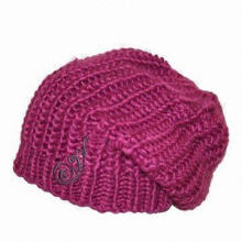 Ladies' Knitted Hat, Made of 100% Acrylic Iceland Yarn