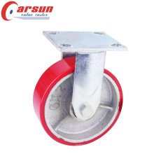 4inches Heavey Duty Rigid Caster with PU Wheel Cast Iron Core