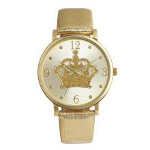 Minimalist  round alloy case PU strap promotion dress lady watch